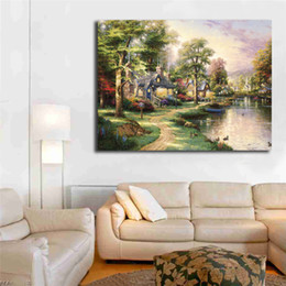$enCountryForm.capitalKeyWord NZ - Thomas Kinkade Hometown Lake HD Wall Art Canvas Poster And Print Canvas Painting Decorative Picture For Living Room Home Decoracion Artwork