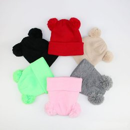 $enCountryForm.capitalKeyWord Australia - New Autumn Winter Children Crochet Beanies Hats Girls Boys PomPom Hat Baby Warm Beanies Caps Toddlers Kids Cute Knitted Hats Cap