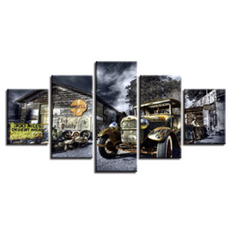 Vintage Car Prints NZ - Canvas Painting 5 Pieces Vintage Car Wall Art Picture House Decor Living Room Poster Painting Artwork (No Frame)