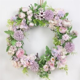 fake window wall 2020 - Artificial Flower Wreath Fake Silk Rose Peony Wreath Window DIY Wedding Decoration Colorful Garland Home Wall Hanging Do
