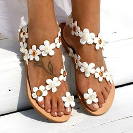leather sandals for ladies 2019 - Women Shoes Summer Bohemia Flat Sandals Pearl Flower Women Sweat Ladies Sandals Beads Soft Beach For Plus Size discount