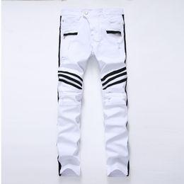 White Long Pants Men Australia - Fashion-Men 3D Brand Design White Demin With Striped Printhing Slim Fit Zipper Fly Casual Long Pants
