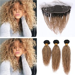 $enCountryForm.capitalKeyWord Australia - Kinky Curly Honey Blonde Ombre 13x4 Lace Frontal Closure with 3Bundles #1B 27 Light Brown Ombre Virgin Brazilian Hair Wefts with Frontal