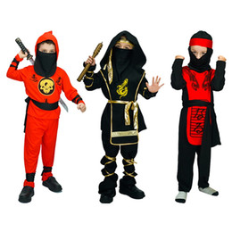 suits tv show NZ - Hooded Ninja Costumes Halloween Party Martial Arts Suits Masquerade Party Classical Naruto Show Clothing for Unisex Children