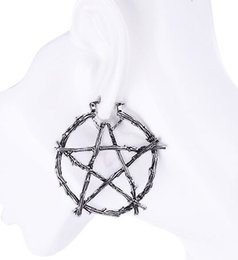 wiccan jewelry NZ - Regalrock Hot Branch Pentagram Witchcraft Amulet Occult Wiccan Jewelry Stud Earrings