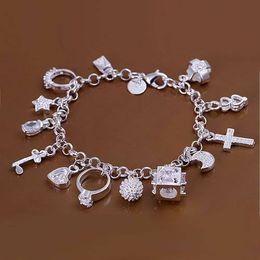 $enCountryForm.capitalKeyWord Australia - H144 Hot sale fine silver plated jewelry,Wholesale Factory price 925 charms fashion 13 Pendants Bracelet  afqaiwx