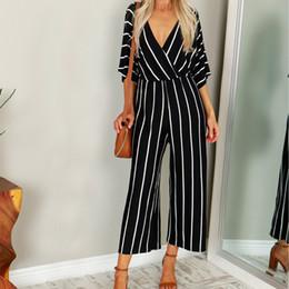 Wide Leg Summer Jumpsuit Australia - Zanzea 2019 Summer Elegant Women Striped Jumpsuits Ol Work Wide Leg Pants Casual Loose Deep V-neck Short Sleeve Loose Rompers Y19051601