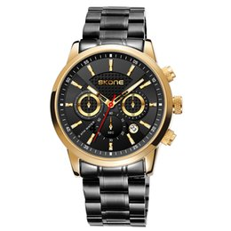 Wrist For Watches Australia - SKONE Mens Quartz Watch Full Steel Calendar Three Eyes Wrist Watches For Men Gold Clocks Business Watches relojes para hombre