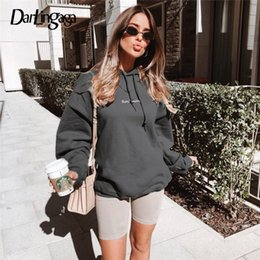 $enCountryForm.capitalKeyWord NZ - Darlingaga Casual Fleece Winter Warm Oversized Hoodie Women Long Sweatshirt Dress Pullovers Letter Embroidery Hoodies OuterwearMX190821