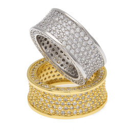 $enCountryForm.capitalKeyWord UK - Gold Silver Plated Copper Punk CZ designer Ring Eternity Band Ring Hip Hop Mens Micro Pave Cubic Zircon Finger Ring VS iced out chains