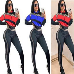 0c7a8aa1c8 Women Striped Jacket+ Pants Leggings Tracksuit 2019 F Letter Print Long  Sleeve Outfits Trandy Brand Club Wear Sports Suit Joggers Set B21505