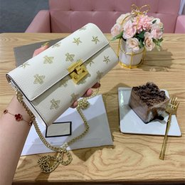 hand bag printed NZ - 2019 newest brand fashion luxury designer handbags purse Strawberry printing design leather women hand bag famous chain shoulder bag