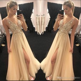 V deep front sexy dresses online shopping - Stunning Gold Champagne prom Dresses Sexy V neck Sheer Top Beaded Sequins tulle vogue Front Slit Evening Party Gowns Boho Engagement Dresses