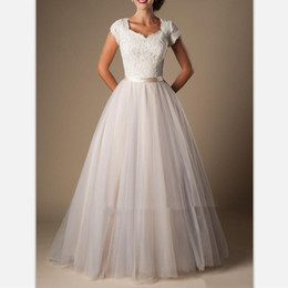 Short Simple Modest White Dresses Australia - White Lace Tulle A Line Modest Wedding Dresses With Cap Sleeves 2019 Short Sleeves Long Temple Bridal Gowns Champagne Wedding Gowns