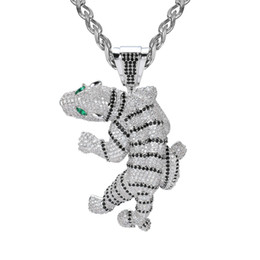cz chains Australia - Iced Out Pendant Hip Hop Jewelry Exaggerated Fierce Tiger Pendants Animal 3D Full Diamond CZ Agate Eye With Chain Fashion Zodiac