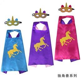 Cotton Mask For Kids Australia - Unicorn Capes and mask sets cartoon cosplay Costumes unicorn cape+mask 2pcs set Halloween cape mask for Kids 70*70CM B11