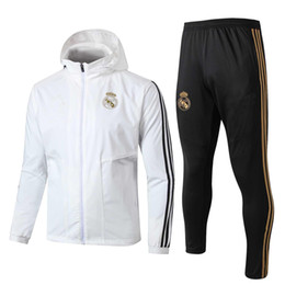 survetement football UK - NEW 2019 Real Madrid soccer jacket tracksuit Survetement 19 20 Real Madrid HAZARD Chandal adult full zipper football jackets sportswear set