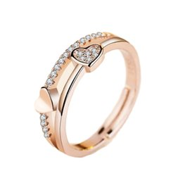 Discount heart shaped rings rose gold - New Vintage Heart Shape Wedding Ring Silver Color And Rose Gold Color Fine Ring