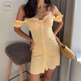 Korean spaghetti strap online shopping - 2019 Women Dress Korean Elegant Vintage Yellow Floral Off Shoulder Beach Dress Boho Vestidos Sexy Short Dress