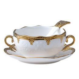 Cerâmica Binaural Bacia de ouro com Colher Copos de Café e Pires Porcelana Tigelas de Comida Em Casa Inglaterra Elegante Sopa Tigela Presentes em Promoção