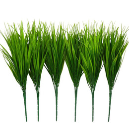 indoor green artificial plants Australia - 6Pcs 15 inch Artificial Plastic Wheatgrass Faux Shrubs Simulation Greenery Plants Indoor Outside Home Garden Office Verandah Wed