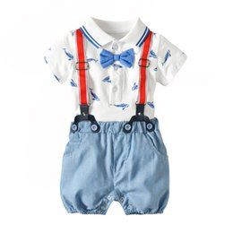Boy BaBy clothes Bodysuit online shopping - Summer Baby Boy clothing Outfits Whale Print Bodysuit Romper Short sleeve Stripes Overall Strap shorts set Hotsale Months