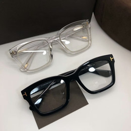 PrescriPtion sunglasses online shopping - High quality TF681 F unisex Sunglasses frame concise big square rim prescription glasses frame imported pure plank full set case