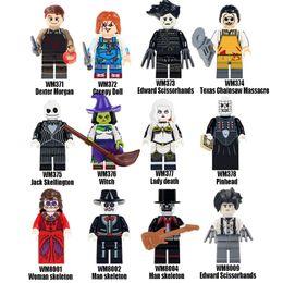 Wholesale Horror movie series Dexter Morgan Creepy Doll Edward Dead Jack Pinhead Woman Man skeleton Chainsaw Massacre Figure block toys funny