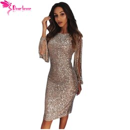 26ab2a9078 Dear lover Dresses online shopping - Dear Lover Sequin Dress Long Sleeve  Party Women Sexy Bodycon