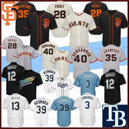 Crawford jerseys online shopping - 28 Posey San Francisco Baseball Jerseys Giants Brandon Crawford Madison Bumgarner Wade Boggs Tampa Longoria Bay Ray Kiermaier