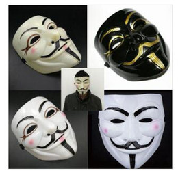 v for vendetta party props Canada - V Mask Yellow V Masks with Eyeliner Halloween Masquerade Masks Party Props Vendetta Anonymous Movie Guy 10 Designs free shipping GB1682