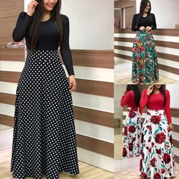 $enCountryForm.capitalKeyWord Australia - 2019 Autumn New Fashion Long Sleeve Floral Printed Long Maxi Dress Casual Slim Dress Color Block Patchwork Womens Party Evening Dress