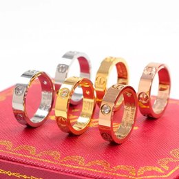 Wholesale 2019 high quality brand titanium steel silver rose gold diamond love couple ring wedding ring for lovers men women couple ring box optional