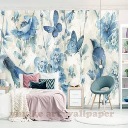 Elegant Decor Living Rooms Australia - Pastoral 3D Flower Birds Wallpaper for Wall Bedroom Living Room Retro Elegant Home Decor Non-woven Wall Paper mural
