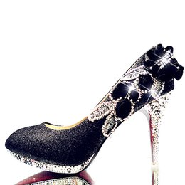 5c08158b2619 Dress 10cm Women Pointed Toe High Heels Shoes Woman Shallow Crystal Pumps  Ladies Fashion Party Wedding Silk Single Shoes Size 34-40