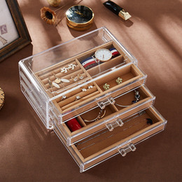 necklaces display case Canada - Transparent Jewelry Display Necklace Make-up Storage Boxes Case Organizer