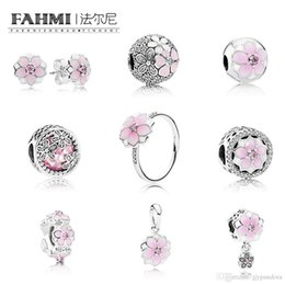 7c85800c0 FAHMI 100% 925 Sterling Silver Charm BLOOM RING MAGNOLIA EARRING STUDS  Bloom SPACER HANGING Charm Magnolia Bloom, Pale Cerise , Pink