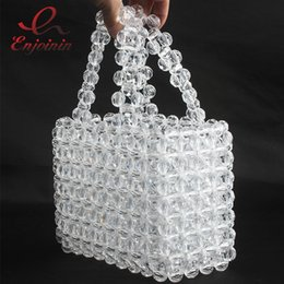 Handmade Totes Bags Australia - High Quality Beaded Acrylic Elegant Fashion Women Party Handbag Beach Bag Ladies Totes Bag Transparent Handmade Female Bolsa