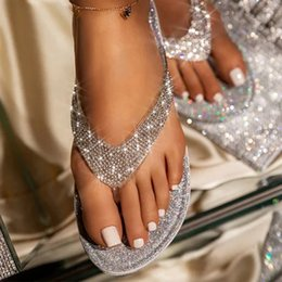 gold flat shoes bling Canada - BLWBYL Flip Flop Slippers Women Slides Bling Rhinestone Ladies Shoes Casual Summer Flat Female Crystal Glitter Woman Slipper