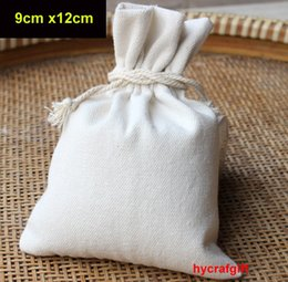 wedding wholesale cosmetic bag Australia - 9x12cm White blank Plain Canvas cotton drawstring bags DIY Gift Wedding favor bag Custom Jewelry Party Pouches cosmetic Cases Candy Packing