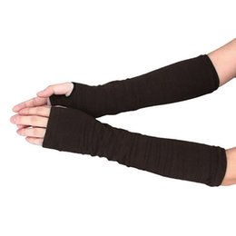 Long sLeeve gLove online shopping - Lady Stretchy Soft Striped Wrist Arm Warmer Long Sleeve Half finger Gloves New
