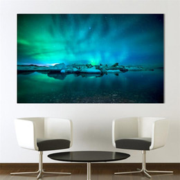 oil paint new Australia - Blue River Oil Painting Aurora Borealis Polar Lights Wall Art Posters Prints Canvas Pictures for Living Room Home Decoration New