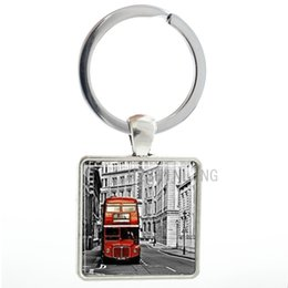 double rings chains UK - TAFREE Vintage Bus square pendant keychain UK Double Decker Bus London England men women key chain ring holder new fashion jewelry AA02