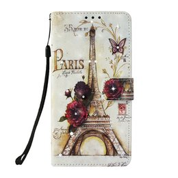 Wallet Painting Australia - Flip cover stand PU leather case for iPhone7 7P Painted 3D Eiffel Tower Point drill with Credit card slot wallet shockproof cell phone cases
