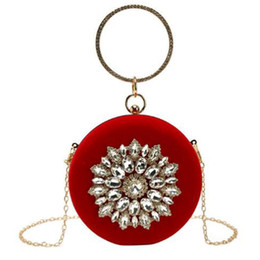 EvEning diamond bags online shopping - New Women S Bag Elegant Ring Diamond Evening Bag Handbag Chain Single Shoulder Diagonal Package Red