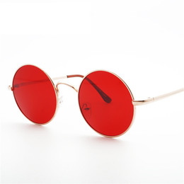 Discount party frames - Retro Round Oversized Sunglasses Men Women Vintage Metal Frame Black Red Sun Glasses Shades Party Eyewear Eyeglasses UV4