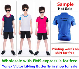 Ems Clothes Australia - Wholesale EMS for free, Text printing for free, new kid children badminton shirt clothes table tennis T sport shirt clothes 124