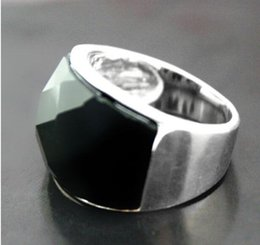 shipping free china ring pearl Australia - Jewelryr Jade Ring 7*20mm VINTAGE NATURAL FACETED BLACK Natural Stone ONYX 925 SILVER RING SIZE 7 8 9 10 Free Shipping
