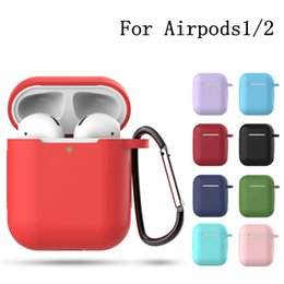 Hooks For Keys Australia - Case Protective Silicone Cover Skin for Apple Airpods 1 2 Bluetooth Earphone Case Accessories with Key chain hook