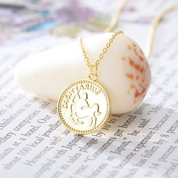 sagittarius necklaces Canada - 100% Authentic Solid 925 Sterling Silver Sagittarius Pendant Necklace Gold Plated Coin Necklace Circle Tridimensional Choker Silver Jewelry